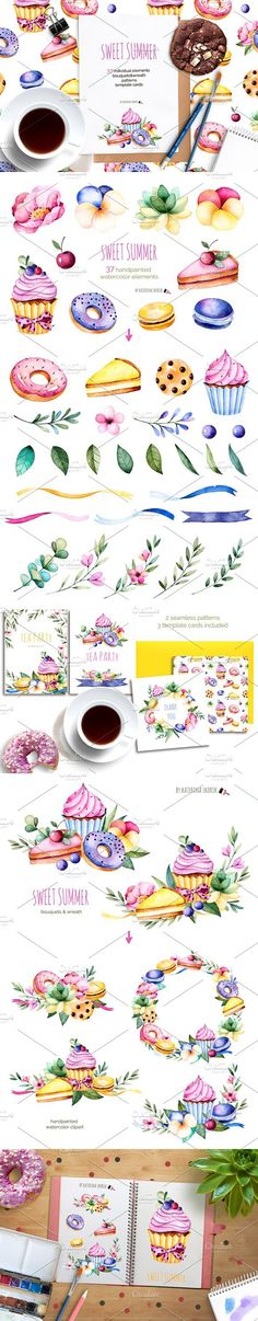 Sweet Summer.Watercolor collection. Wedding Card Templates