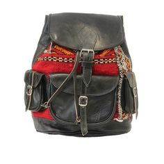Aztecs on the Streets - Black Leather and Aztec Print Rucksack