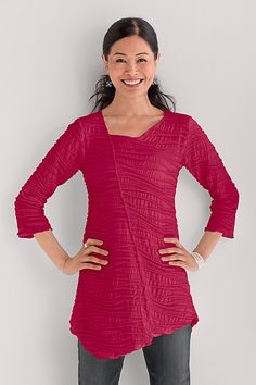 Our favorite sculpted European knit fabric is updated with an asymmetrical neckline and dramatic angled seams front and back. Fiore Asymmetrical Tunic by Carol Turner: Knit Tunic available at www.artfulhome.com