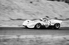 September, 1965, Bridgehampton. Hap Sharp on his way to a victory in the Bridgehampton Double 500. Chaparral sent only one car for this race, and Sharp simply dominated. I had the opportunity to be there and shake Sharp's hand. Albert R. Bochroch photo.