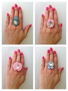 Denim Earrings, Soutache Earrings, Stud Earrings, Tutorial Anillo, Ring Tutorial, Handmade Beaded Jewelry, Handmade Necklaces, Fabric Jewelry, Simple Necklace