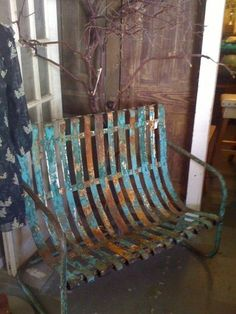 Rustic, rusty little gem of a chair. Rust Never Sleeps, Rust In Peace, Old Chairs, Pink Chairs, White Chairs, Lawn Furniture, Peeling Paint, Rusty Metal, Banquettes