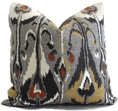 Grey mustard red ikat pillow cover by WheatonWhaleyDesigns on Etsy