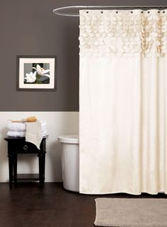Obsessed with this ivory petal shower curtain. Would be perfect in our gray bathroom!