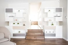Contemporary shelving system created to store a variety of items. Living Room Cabinets, Living Room Storage, Contemporary Shelving, Wall Unit Designs, Media Room Design, Custom Shelving, California Closets, Home Storage Solutions, Family Room