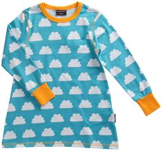 Turquoise Clouds A-lineshapedtunic with long sleeves,in organic cotton by Swedish designer Maxomorra. Contrast coloured binding and cuffs. 97% organic cotton