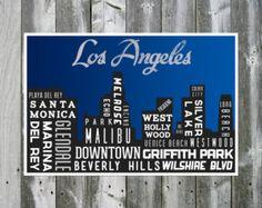 Los Angeles Skyline Poster. Typography Print. City Art Print. Night Time. 12x18