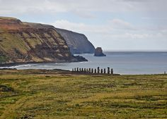 Easter Island is world famous for the Moai, 887 statue monuments carved out of very distinct volcanic rock. From: http://ourworldsview.com/easter-island-chile.html
