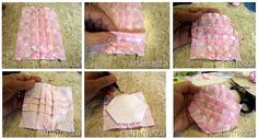 TUTORIAL!                   These two photos are from a Japanese Patchwork book: Yoyo Crafts, patterns, bag   Japanese patchwork book in Ch...