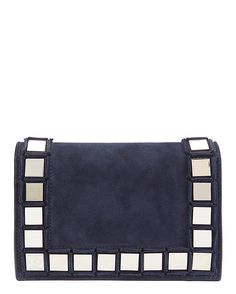 Tomasini Studded Suede Flap Bag: Navy: The front flap on this suede bag is…