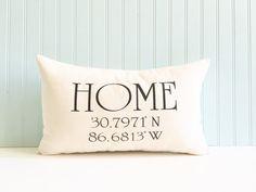 longitude and latitude pillow cover by SassyStitchesbyLori on Etsy