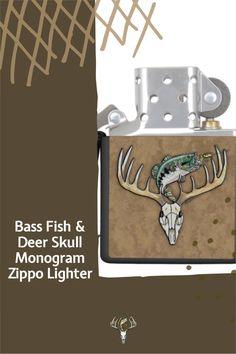Deer Skull and Bass Fish Monogram Zippo Lighter. Click to customize the monogram initial. Great gift! #giftsformen #fisherman #hunter #angler Hunting Home Decor, Buck Deer, Lighter Fluid, Design Guidelines, Deer Skulls, Pocket Light, Zippo Lighter, Good Ole, Bass Fishing