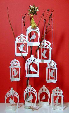 Birdcage papercut Christmas tree by tamaradesigns
