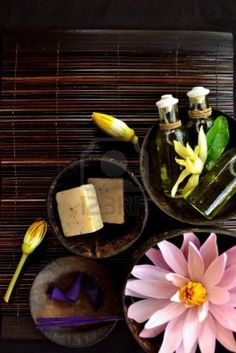 White water lily and asian spa goodies