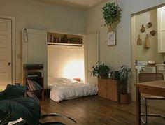 ideas studio apartment bed in closet
