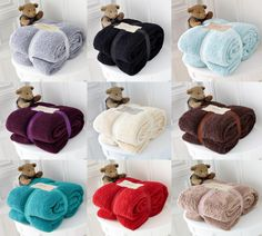 Luxury Super Soft Teddy Bear Throw Contemporary Sofa Bed Throw Blanket ALL Sizes