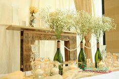 Simply Grand Events Newport News VA | Gallery Rustic, raffia, wine bottles, baby's breath, mason jars, LOVE, candles