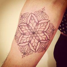 floral mandala symetry Simple Floral Inner Arm Tattoo #Armtattoos, #Floraltattoos, #Mandalatattoos