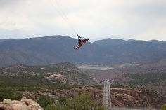Crazy Skycoaster at Royal Gorge Bridge in Colorado. Fly out over a ridiculously deep canyon!