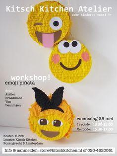 Workshop: Emoji Piñata in Kitsch Kitchen Atelier, Amsterdam.  Fotografie, Styling en Ontwerp: Larsia Braakman