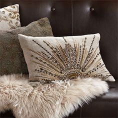Club Glamour Rectangle Gold Beaded Sunburst Pillow In Linen And Natural | Arhaus Furniture