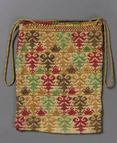 Embroidery bag Greek, 19th century , Linen, embroidery