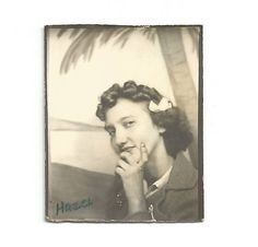 Vintage Photo Hazel Teenage Girl Dark Nail Polish