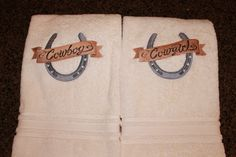 Custom Embroidered Cowboy and Cowgirl (His and Hers)Towel Gift Set for a wedding gift. His And Hers Towels, Cowboy And Cowgirl, Custom Items, Craft Gifts, Cute Gifts, Machine Embroidery Designs, Wedding Gifts, Shower Ideas, Bridal Shower