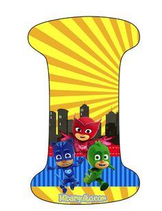 Pjmask Party, Festa Pj Masks, Airbrush Art, 3rd Birthday Parties, Power Rangers, Alphabet, Banner, Letters, Gabriel