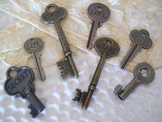 KEYS100 adorable vintage inspired keysmetal word by shabbymcfabby, $150.00