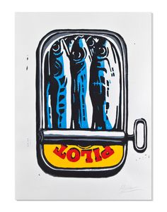 Original Reduction Linocut of Sardines Limited Edition