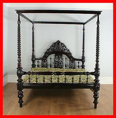 Antique Victorian Colonial Raj 6ft Four Poster Bed Double Queen Super King Size | Antiques, Antique Furniture, Beds | eBay!