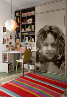 Lagrama .Personaliza su cama con vinilos porque los niños saben lo que quieren, dormitorios juveniles con personalidad y color. Cama abatible Lagrama #cama #bed #bedroom #children #idea #desk #fotografia