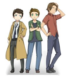 Cas, Dean, and Sammy. Manga style. Please help me this is just cute overload.