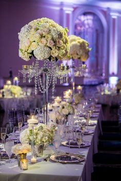 16 ideas for wedding table decorations hydrangea mercury glass Rectangle Table Centerpieces, White Hydrangea Centerpieces, Candelabra Wedding Centerpieces, Summer Wedding Centerpieces, Wedding Table Decorations, Mercury Glass Centerpiece, Glass Centerpieces, Fairmont Hotel, Summer Wedding Colors