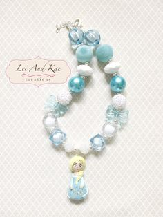 Frozen Princess Elsa Inspired Handmade Pendant Chunky Bubble Gum Necklace - Photo Prop Fashion Accessory