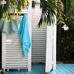 16 DIY Outdoor Shower Ideas - A Piece of Rainbow Shutter Shower