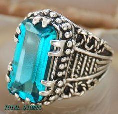 Beautiful Aqua topaz ring stamped 925 silver
