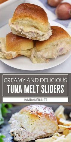 Tuna Melt Sandwich, Tuna Melts, Baking Recipes For Kids, Cooking Recipes, Tuna Melt Recipe Easy, Chicken Dinner Party Recipes, Tuna Recipes, Healthy Salad Recipes, Slider Sandwiches