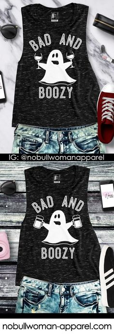 NoBull Woman has your #halloween2017 Gear! BAD & BOOZY Muscle Tank, $24.95. Click here to buy https://nobullwoman-apparel.com/collections/holiday/products/bad-boozy-halloween-ghost-black-muscle-tank-top