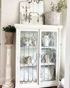 Antique Cabinets, French Country Cottage, Vintage Love, China Cabinet, Farmhouse Style, Family Room, Shabby, Photo And Video, Cupboards