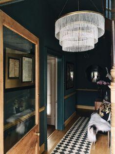 Farrow and Ball Inchyra blue hallway; Dark Hallway, Hallway Ideas Entrance Narrow, Modern Hallway, Tiled Hallway, Entryway, Dark Walls, Blue Walls, Easy Home Decor, Cheap Home Decor