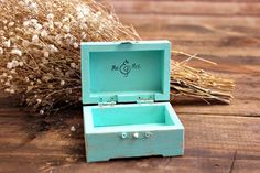 tiffany blue rustic distressed wedding ring bearer box . personalize by montanasnow