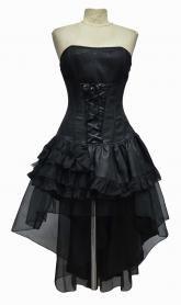 Robe corset noire avec laçage et jupes à volants gothique