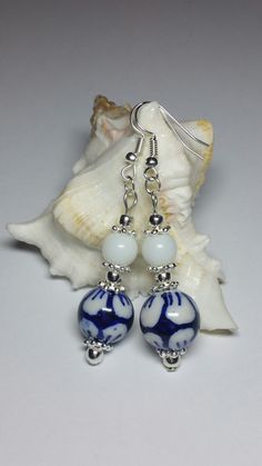 Porcelain Beaded Earrings, Blue White Earrings, Silver Handmade Costume Jewellery, Under 20 Gift for Her, Christmas Gift Idea by KlaassyArts on Etsy https://www.etsy.com/listing/262220975/porcelain-beaded-earrings-blue-white