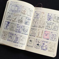 Fbに毎日ポストしているひとこま絵日記。  見開きページがいっぱいになりました。