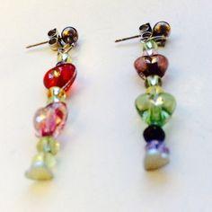 Hearts earrings romantic dangles boho by JeriAielloartstore