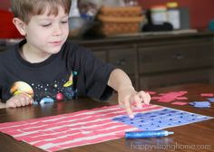 Collage Pattern Flag Craft: Celebrating with paper patriotic crafts is a great way to engage kids on a summer afternoon and brighten up a window, door, or home.