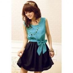 $7.39 Stylish Scoop Neck Bow Tie Color Block Splicing Chiffon Dresses For Women