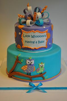 Owl Baby Shower Cake, I would love this for a birthday cake.